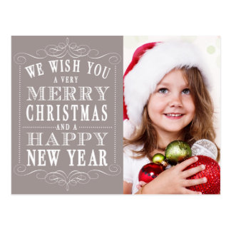 Grey Merry Christmas, Happy New Year Photo Postcard