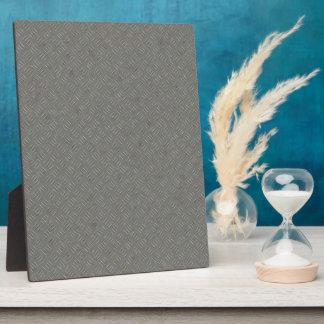 Grey Metal Diamond Plate Texture Background Plaque
