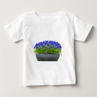 Grey metal flower box with blue grape hyacinths baby T-Shirt