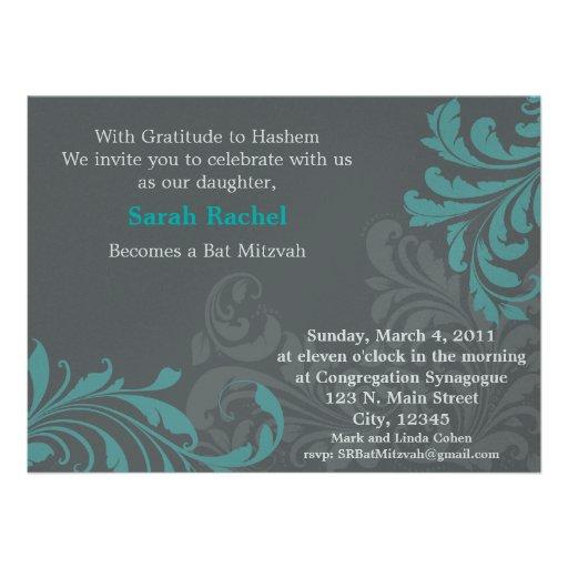 Grey Metalic Damask - blue Invitation