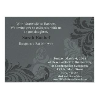 Grey Metalic Damask Invitation