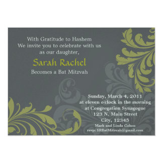 Grey Metalic Damask - Olive Invitation