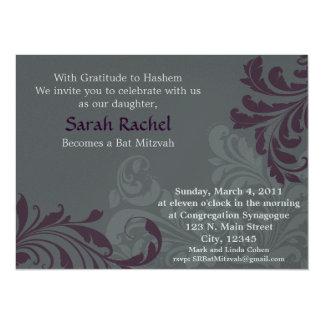 Grey Metalic Damask - Purple Invitation