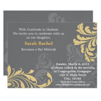 Grey Metalic Damask - Yellow Invitation