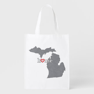 Grey MICHIGAN Home & Open Heart Grocery Bag