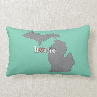 Grey MICHIGAN Home & Open Heart Lumbar Pillow