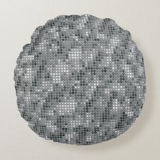 Grey Microdots Round Pillow