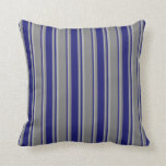 [ Thumbnail: Grey, Midnight Blue, and Dark Grey Lines Pattern Throw Pillow ]
