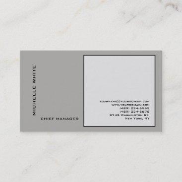Grey Minimalist Elegant Plain Professional Business Card