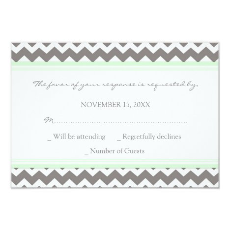 Grey Mint Chevron RSVP Wedding Card