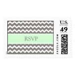 Grey Mint Chevron RSVP  Wedding Stamps