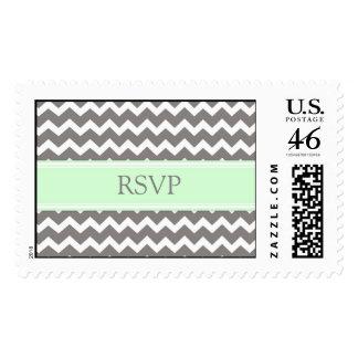 Grey Mint Chevron RSVP Wedding Stamps