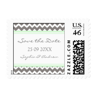 Grey Mint Chevron Save the Date Wedding Stamps