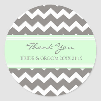 Grey Mint Chevron Thank You Wedding Favor Tags Classic Round Sticker