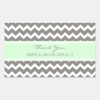 Grey Mint Chevron Thank You Wedding Favor Tags Rectangular Sticker