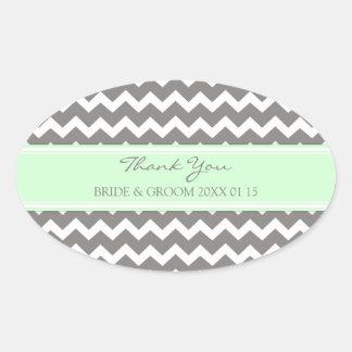 Grey Mint Chevron Thank You Wedding Favor Tags Sticker