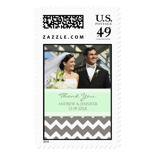 Grey Mint Chevron Thank You Wedding Stamps