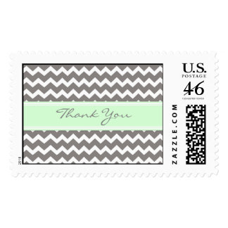 Grey Mint Chevron Thank You Wedding Stamps