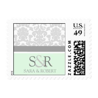 Grey Mint Damask Monogram Wedding Stamps