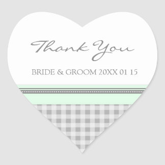 Grey Mint Gingham Thank You Wedding Favor Tags
