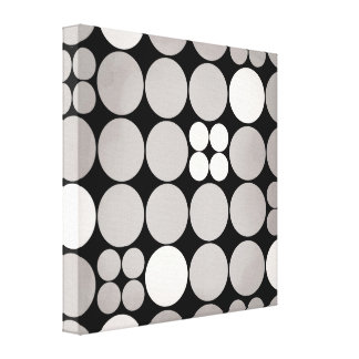Grey mod dot stretched canvas print