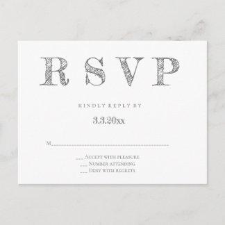 Grey modern lettering wedding rsvp postcards