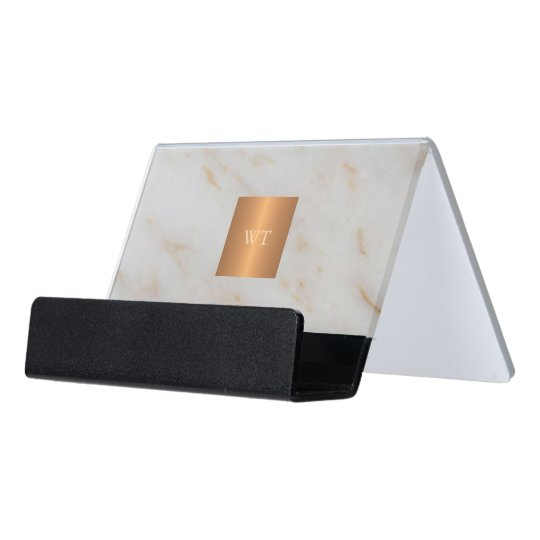 grey modern marble metallic copper square monogram desk business card holder - Monogram Card Holder