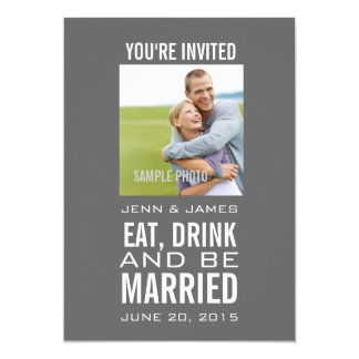 Grey Modern Photo Wedding Invitations