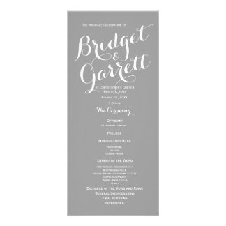 Grey Modern Text Wedding Program