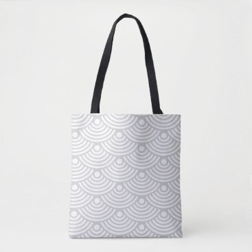Beach Themed Grey Modern Waves Tote Bag