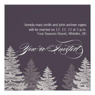 Grey Modern Winter Wedding Invitations Trees