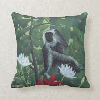 Grey Monkey in Jungle White Lily Palms by Rousseau Pillows