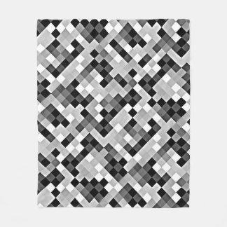 Grey Mono Abstract Mosaic Pattern Fleece Blanket