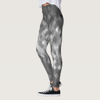 Grey Mono-Mix Harlequin Pattern Leggings