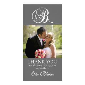 Grey Monogram B Wedding Thank You Photo Card