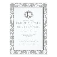 Grey Monogram Damask Bridal Shower Invitations