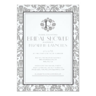 Grey Monogram Damask Bridal Shower Invitations Personalized Invitations