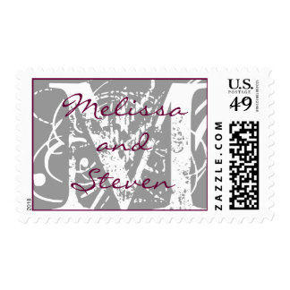 Grey Monogram Initial M and Names Postage Stamp