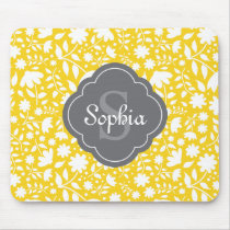 Grey Monogram Quatrefoil Yellow Floral Pattern Mouse Pad