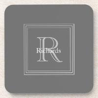 Grey Monogram S/6 Coasters