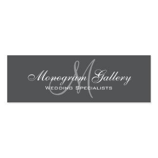 Grey Monogram Simple Customizable Mini Business Card