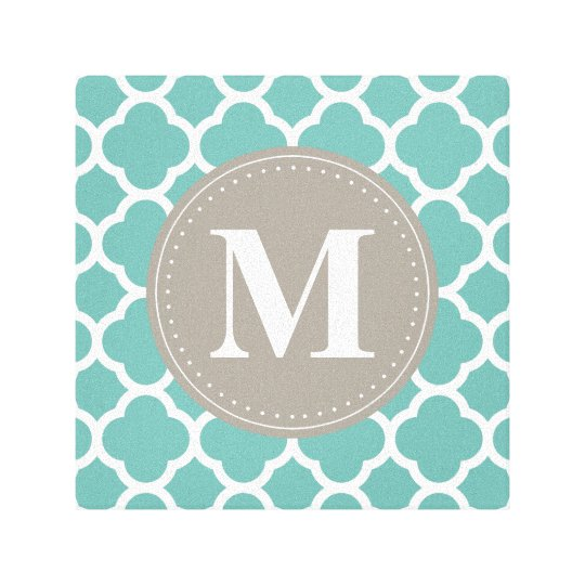 Grey Monogram Turquoise  Quatrefoil Pattern Canvas Print