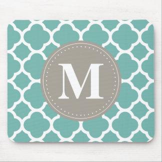 Grey Monogram Turquoise  Quatrefoil Pattern Mouse Pad