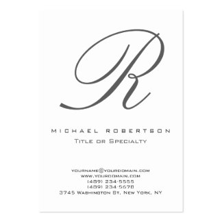 Grey Monogram White Chubby Business Card