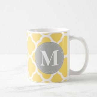 Grey Monogram Yellow Quatrefoil Pattern Classic White Coffee Mug