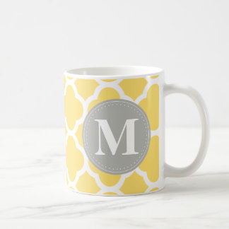 Grey Monogram Yellow Quatrefoil Pattern Coffee Mug