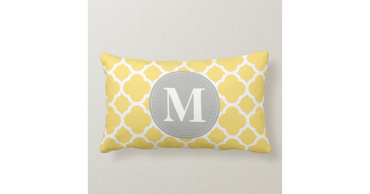 Quatrefoil Knitting Pattern : Grey Monogram Yellow Quatrefoil Pattern Lumbar Pillow Zazzle
