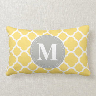 Grey Monogram Yellow Quatrefoil Pattern Lumbar Pillow