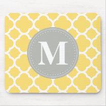 Grey Monogram Yellow Quatrefoil Pattern Mouse Pad
