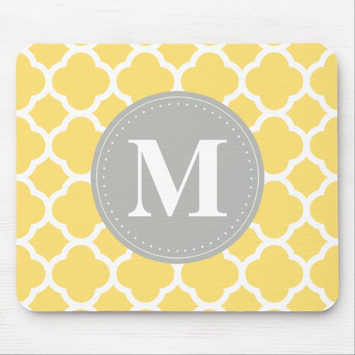 Grey Monogram Yellow Quatrefoil Pattern Mouse Pad